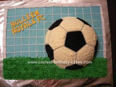 Soccer Ball in Goal Cake