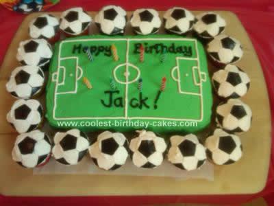 Homemade Soccer Ball Cupcake Cake