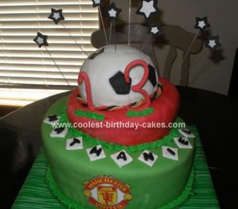 I Made This Soccer Birthday Cake For My Grandsons 13th The Is A Three Tier Topsy Turvy With Ball As Top Layer