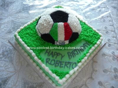 Stupendous Coolest Soccer Cake With Italian Flag Personalised Birthday Cards Beptaeletsinfo