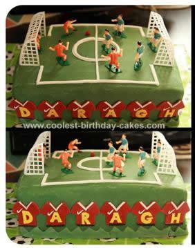 Homemade Soccer Pitch Cake