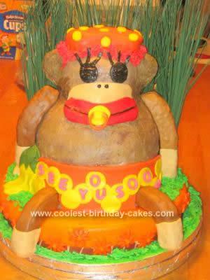 Homemade Sock Monkey Baby Shower Cake