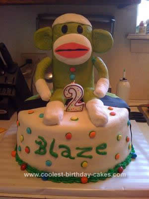 Homemade Sock Monkey Birthday Cake