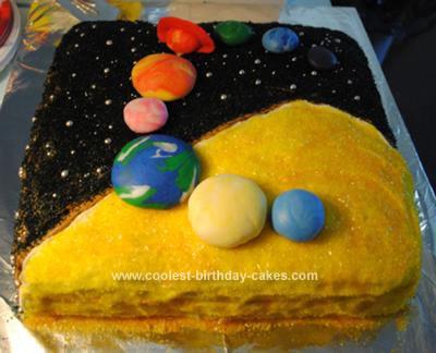 Homemade Solar System Birthday Cake