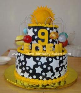 Homemade Solar System Cake