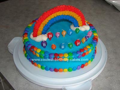 Homemade Somewhere over the Rainbow Cake