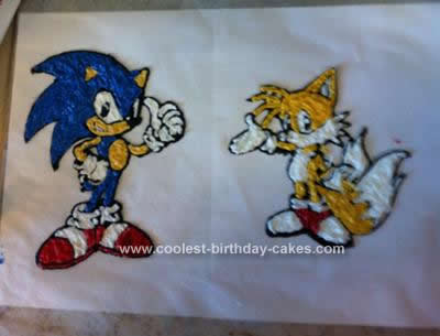 Homemade Sonic the Hedgehog and Tails Cake