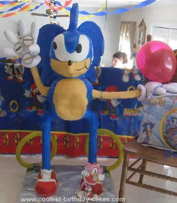 Homemade Sonic the Hedgehog Birthday Cake