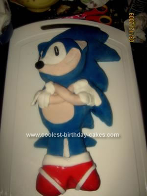 Homemade Sonic the Hedgehog Cake