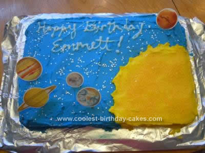 Homemade Space Birthday Cake Design