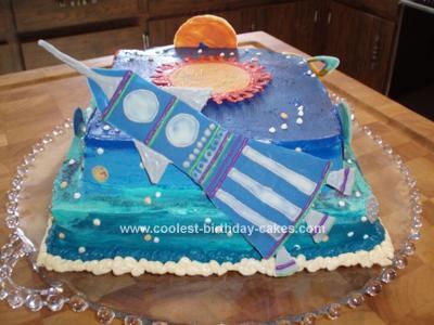 Homemade Space Theme Cake