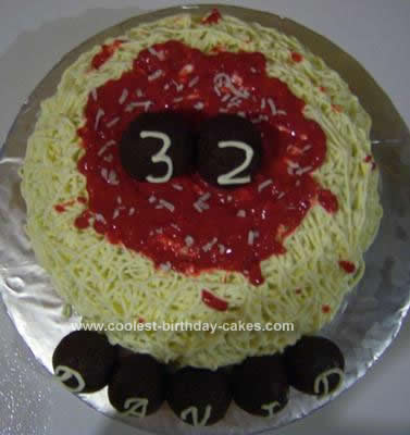 Homemade Spaghetti and Meatballs Birthday Cake