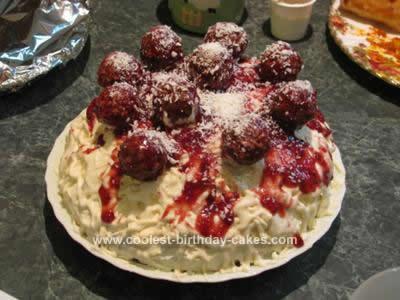 Homemade Spaghetti & Meatball Cake