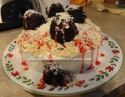 Homemade Spaghetti & Meatballs Cake