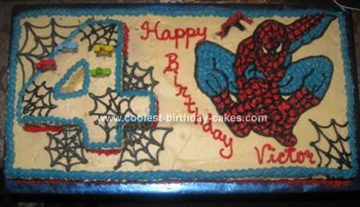 Homemade Spideman 4th Birthday Cake