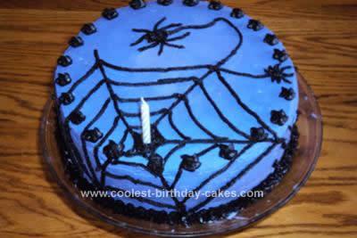 homemade spider halloween birthday cake