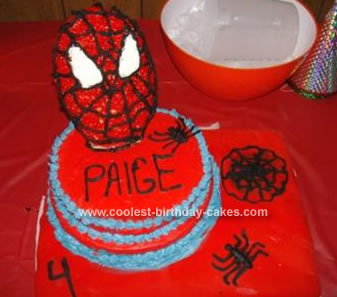 Homemade Spider Man Birthday Cake