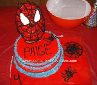Homemade Spider Man Birthday Cake