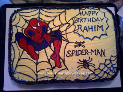 Homemade Spiderman Birthday Cake I Made This For A 4 Year Old Boy