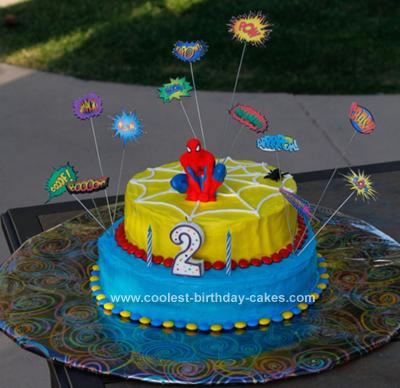 Homemade Spiderman Birthday Cake