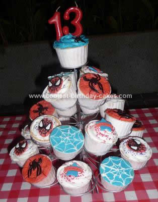 Homemade Spiderman Cupcakes