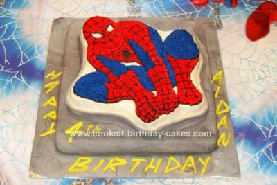 Homemade Spiderman on a Wall Birthday Cake