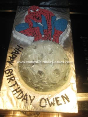 Homemade  Spiderman Perched on the Moon Cake
