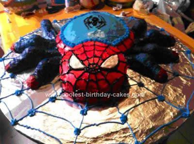 Homemade Spiderman Spider Birthday Cake