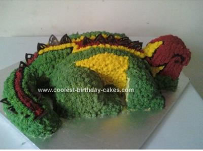 Homemade Spikey the Dinosaur Cake
