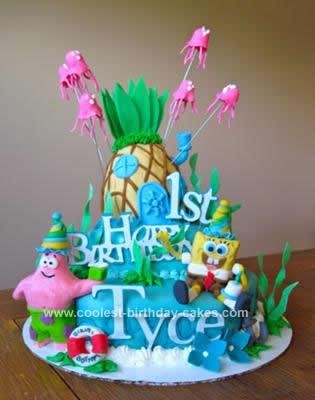 Homemade Sponge Bob 1st Birthday Cake
