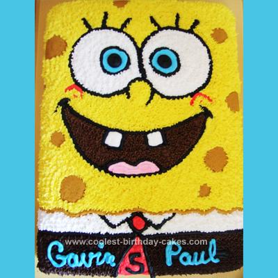Homemade Sponge Bob Birthday Cake
