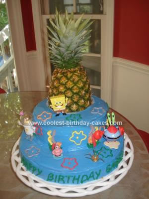 Homemade Spongebob and Friends Birthday Cake