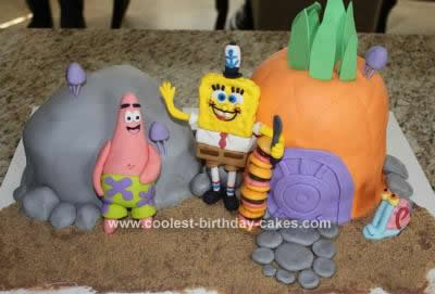 Homemade Spongebob and Friends Cake