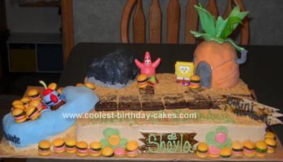 Homemade Spongebob and Friends Scene Cake