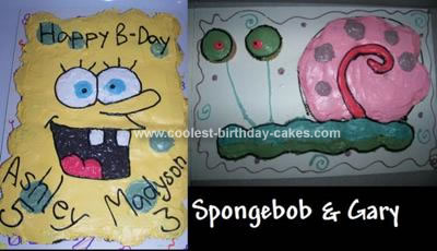 Homemade Spongebob And Gary Birthday Cake