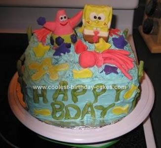 Homemade Spongebob and Patrick Star Cake
