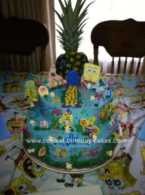 Homemade Spongebob Bikini Bottom Birthday Cake