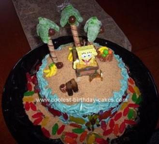 Homemade Spongebob Castaway Island Cake