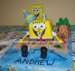 Homemade Spongebob First Birthday Cake