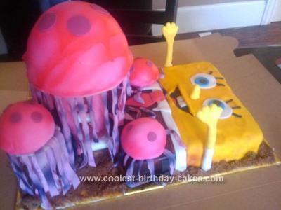 Homemade Spongebob Hanging With The Jellyfish Cake