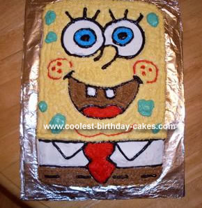 Homemade Spongebob Square Pants Cake