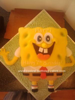 Homemade Spongebob Square Pants Cake