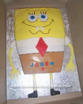 Homemade Spongebob Squarepants Birthday Cake