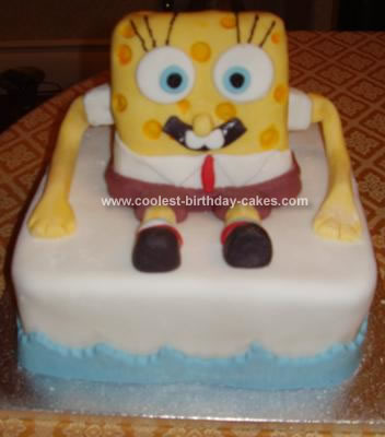 Jake and Lukes Homemade  Spongebob Squarepants Cake