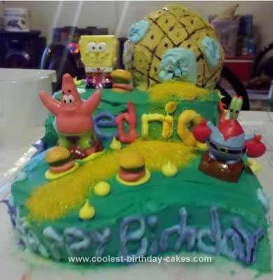 Homemade SpongeBob Themed Cake