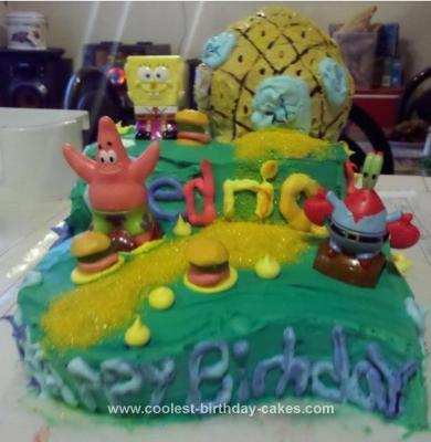 Homemade SpongeBob Themed Cake