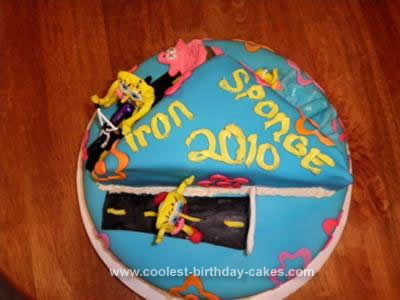 Homemade SpongeBob Triathlon Cake