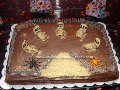 Homemade Spooky Graveyard Cake