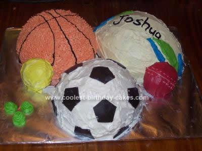 Homemade Sport Balls Birthday Cake
