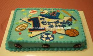 Homemade Sports Theme Cake